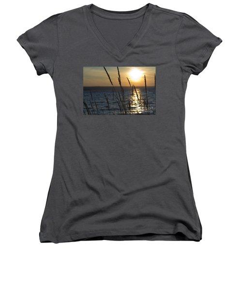 Sunset On Cayuga Lake Women's V-Neck