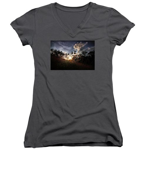 Sunset On Daisy Women's V-Neck T-Shirt