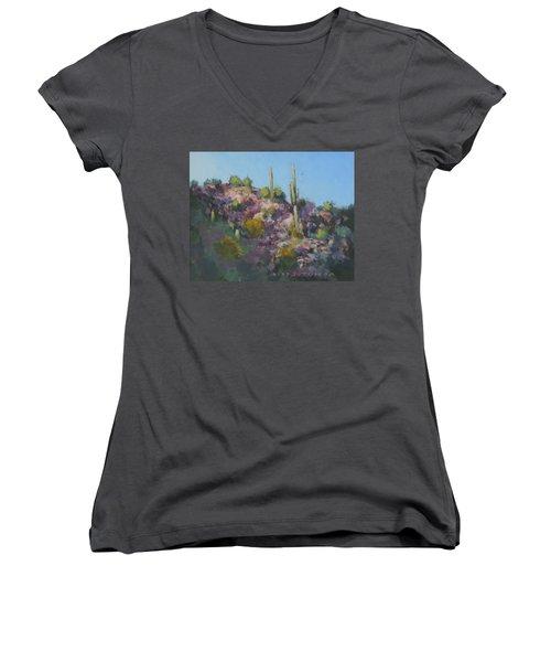 Sunset On Hawk Ridge Women's V-Neck T-Shirt