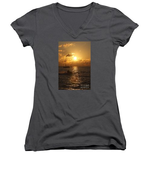 Women's V-Neck T-Shirt (Junior Cut) featuring the photograph Sunset Over Key West by Christiane Schulze Art And Photography