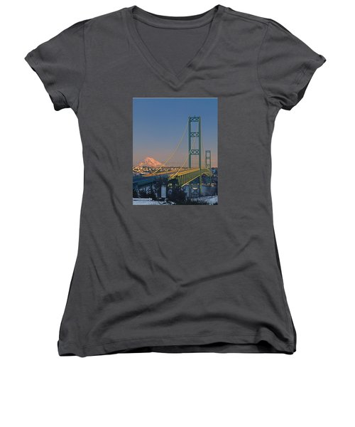 1a4y20-v-sunset On Rainier With The Tacoma Narrows Bridge Women's V-Neck (Athletic Fit)