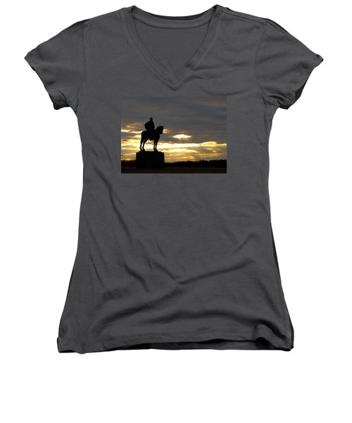 Sunset On The Battlefield Women's V-Neck (Athletic Fit)