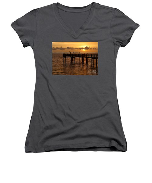 Sunset On The Dock Women's V-Neck T-Shirt