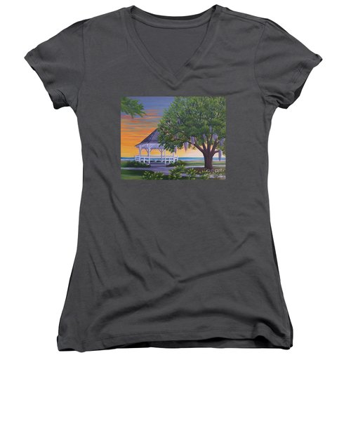 Sunset On The Gazeebo Women's V-Neck (Athletic Fit)