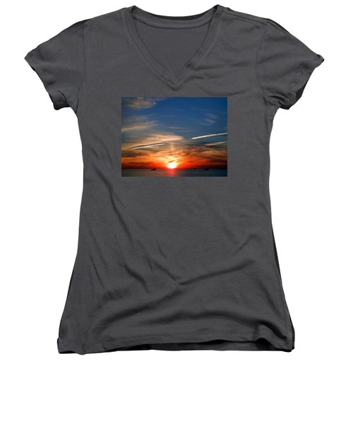 Sunset On The Gulf Of Mexico Women's V-Neck T-Shirt (Junior Cut) by Debra Martz
