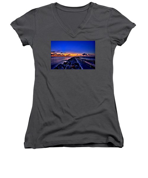 Women's V-Neck T-Shirt (Junior Cut) featuring the painting Sunrise On The Pier by Bruce Nutting