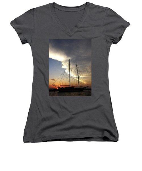 Sunset On The Turkish Gulet Women's V-Neck T-Shirt