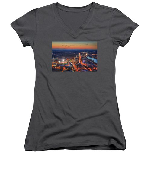 Sunset Over Fenway Park And The Citgo Sign Women's V-Neck T-Shirt