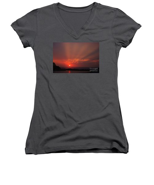 Sunset Over Hope Island 2 Women's V-Neck T-Shirt (Junior Cut) by Blair Stuart