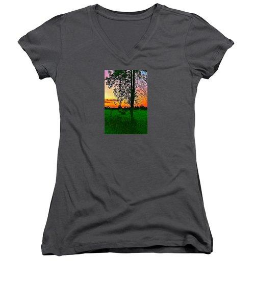 Sunset Over M-33 Women's V-Neck T-Shirt (Junior Cut) by Daniel Thompson