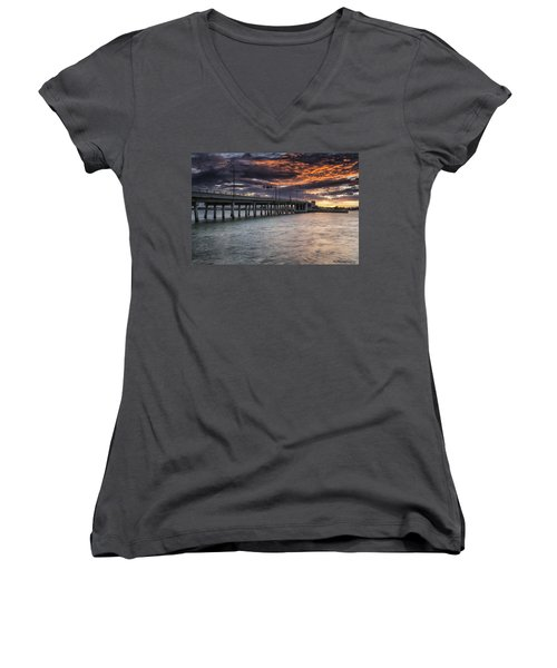 Sunset Over The Drawbridge Women's V-Neck T-Shirt