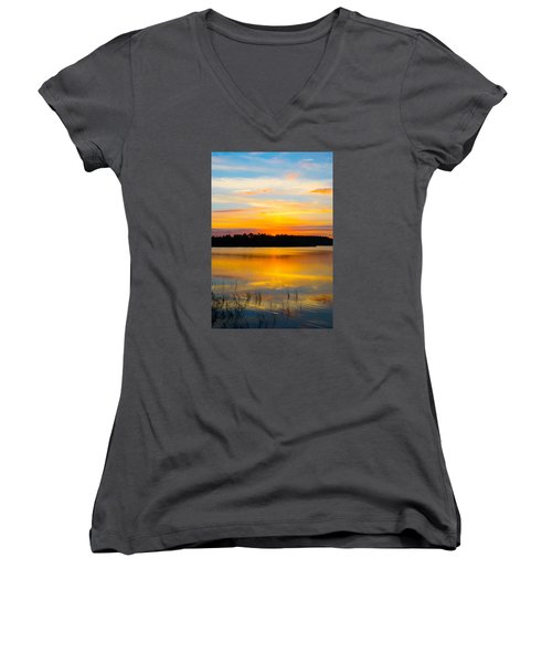 Sunset Over The Lake Women's V-Neck T-Shirt (Junior Cut) by Parker Cunningham