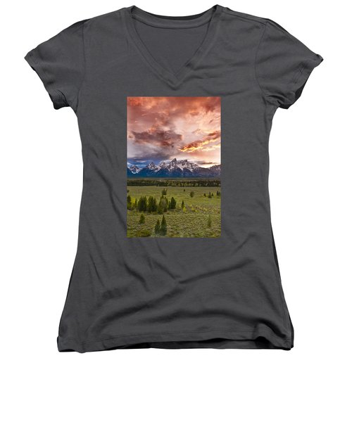 Sunset Over The Tetons  Women's V-Neck (Athletic Fit)