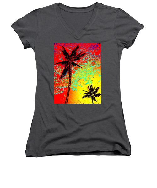 Women's V-Neck T-Shirt (Junior Cut) featuring the photograph Sunset Palms by David Lawson