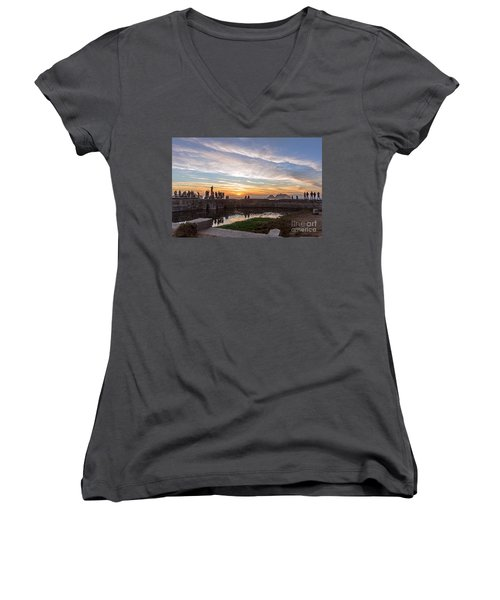 Sunset Party Women's V-Neck T-Shirt (Junior Cut) by Kate Brown