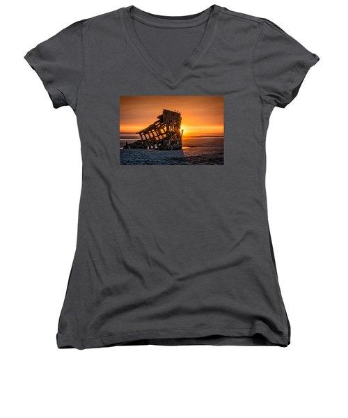 Sunset Peter Iredale Women's V-Neck T-Shirt (Junior Cut) by James Hammond