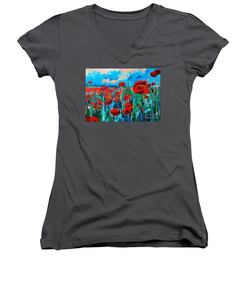 Women's V-Neck T-Shirt (Junior Cut) featuring the painting Sunset Poppies by Ana Maria Edulescu