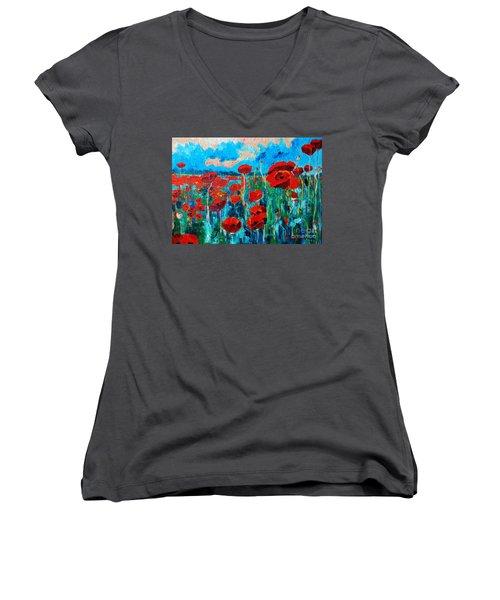 Sunset Poppies Women's V-Neck T-Shirt (Junior Cut) by Ana Maria Edulescu