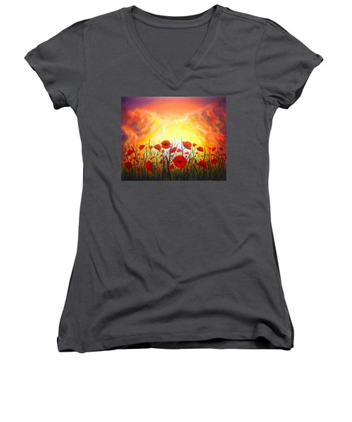 Women's V-Neck T-Shirt (Junior Cut) featuring the painting Sunset Poppies by Lilia D