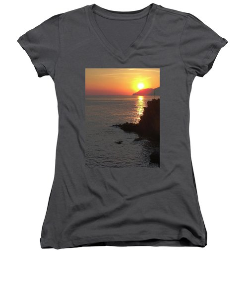 Women's V-Neck T-Shirt (Junior Cut) featuring the photograph Sunset Reflection by Natalie Ortiz