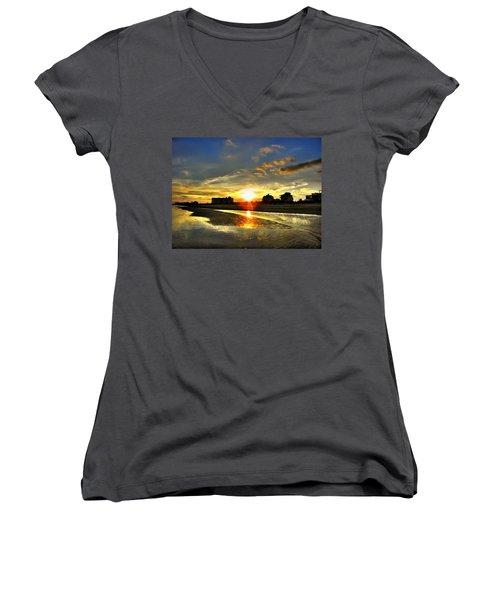 Women's V-Neck T-Shirt (Junior Cut) featuring the photograph Sunset by Savannah Gibbs