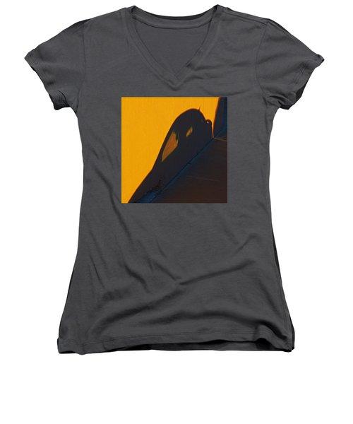 Women's V-Neck T-Shirt (Junior Cut) featuring the photograph Sunset Shadow Car by John Hansen