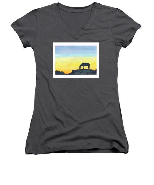Sunset Silhouette Women's V-Neck (Athletic Fit)