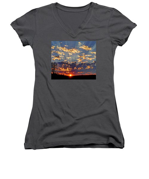 Sunset Spectacle Women's V-Neck T-Shirt (Junior Cut) by Peter Mooyman