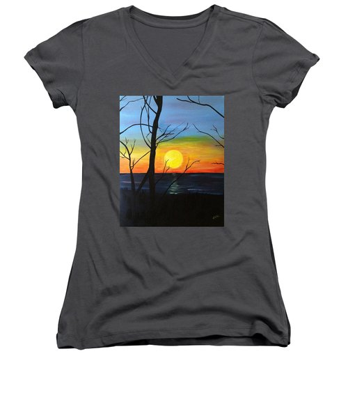 Sunset Through The Branches Women's V-Neck (Athletic Fit)