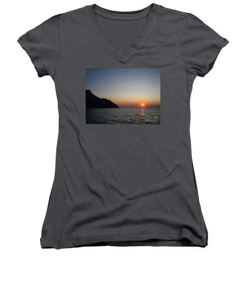 Women's V-Neck T-Shirt (Junior Cut) featuring the photograph Sunset by Vicki Spindler