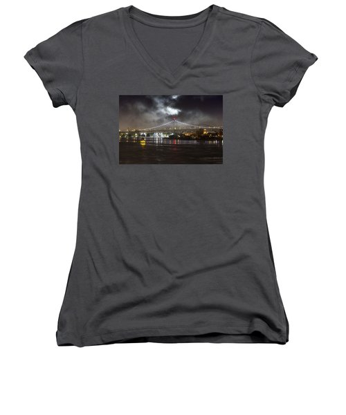 Super Moon And Triboro Bridge Women's V-Neck
