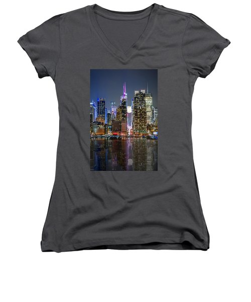 Super Moon At 42nd Street  Women's V-Neck (Athletic Fit)