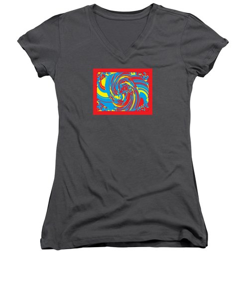 Women's V-Neck T-Shirt (Junior Cut) featuring the painting Super Swirl by Catherine Lott