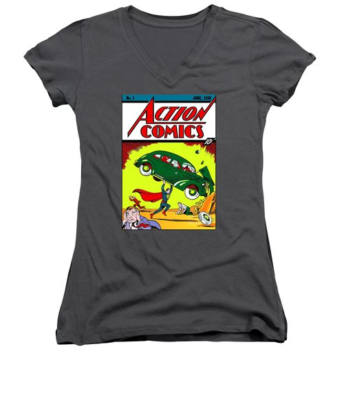 First Edition - Superman Comic Book  Women's V-Neck