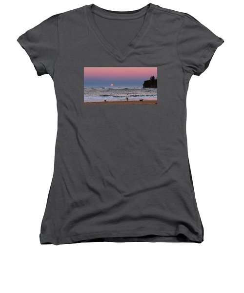 Supermoonrise Women's V-Neck (Athletic Fit)
