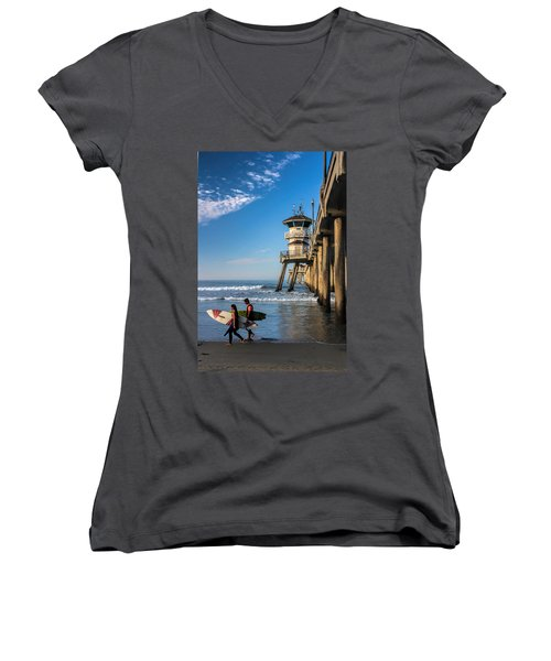 Women's V-Neck T-Shirt (Junior Cut) featuring the photograph Surf's Up by Tammy Espino