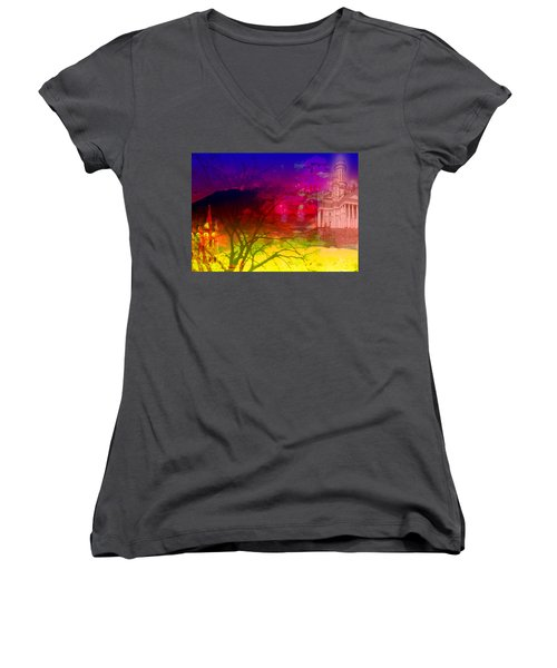 Women's V-Neck T-Shirt (Junior Cut) featuring the digital art Surreal Buildings  by Cathy Anderson