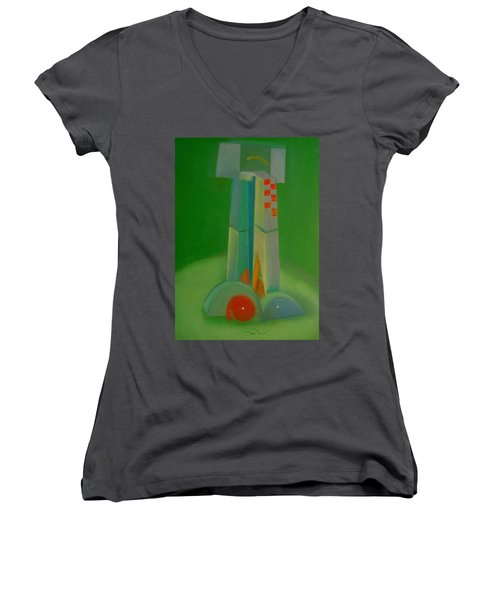 Women's V-Neck T-Shirt (Junior Cut) featuring the painting Survivors by Charles Stuart