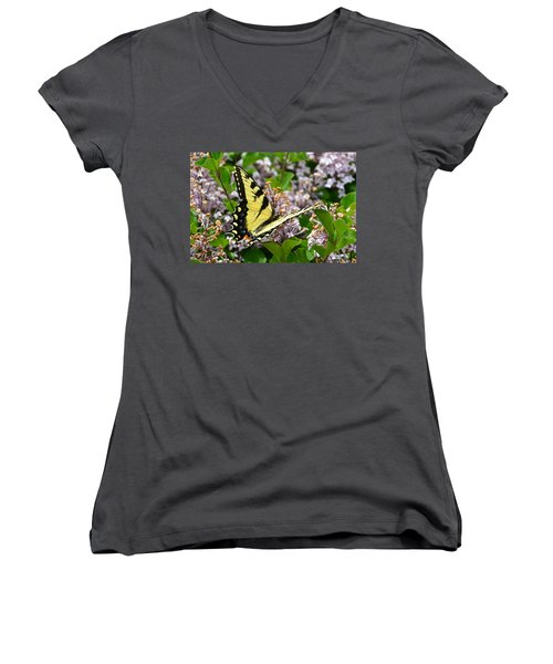 Swallowtail On Lilacs Women's V-Neck T-Shirt