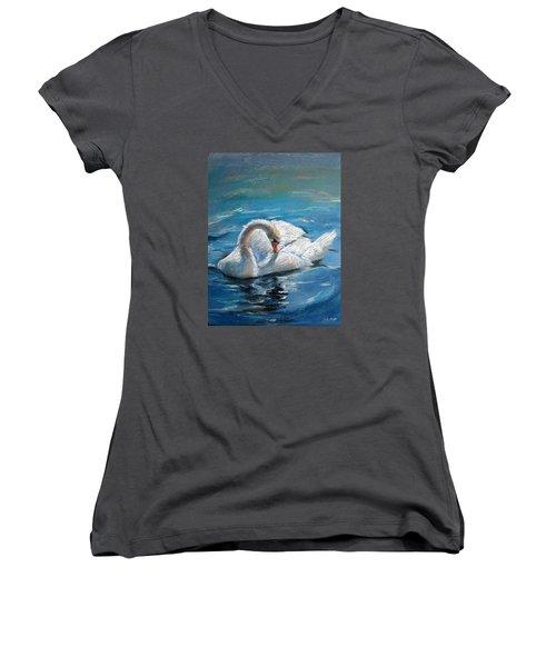 Women's V-Neck T-Shirt (Junior Cut) featuring the painting Swan by Jieming Wang