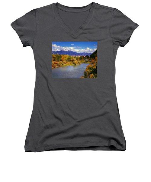 Swan Valley Autumn Women's V-Neck T-Shirt (Junior Cut) by Leland D Howard