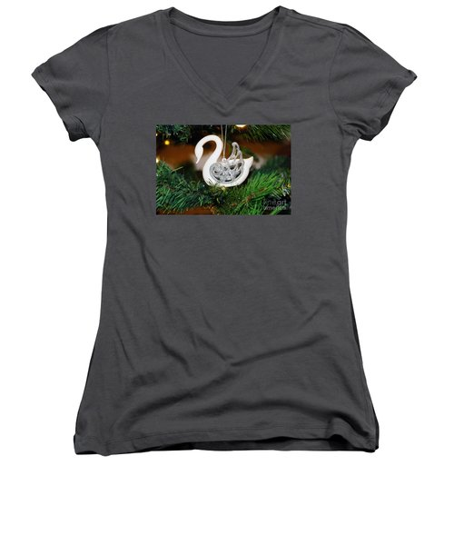 Women's V-Neck T-Shirt (Junior Cut) featuring the photograph Swans A Swimming by Cassandra Buckley