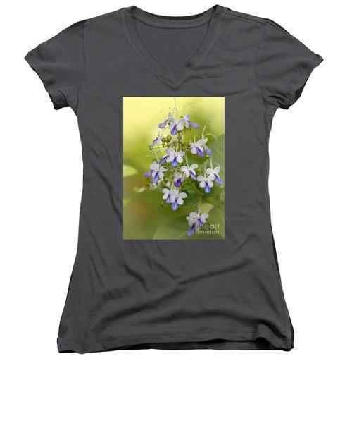 Sweet Butterfly Flowers Women's V-Neck T-Shirt
