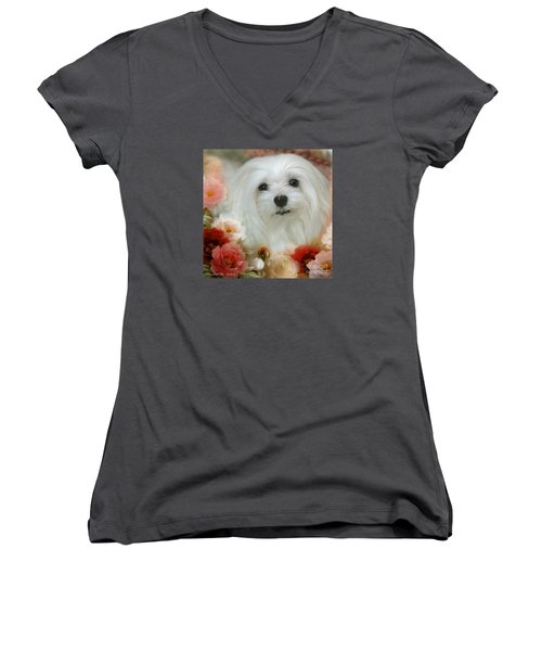 Sweet Snowdrop Women's V-Neck T-Shirt