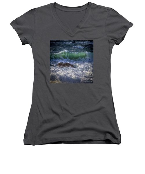 Swells In Doninos Beach Galicia Spain Women's V-Neck T-Shirt