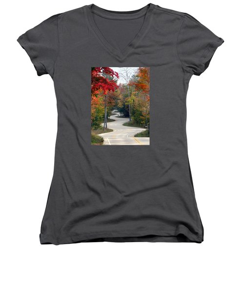 Swervy Road At North Port Women's V-Neck T-Shirt (Junior Cut) by David T Wilkinson