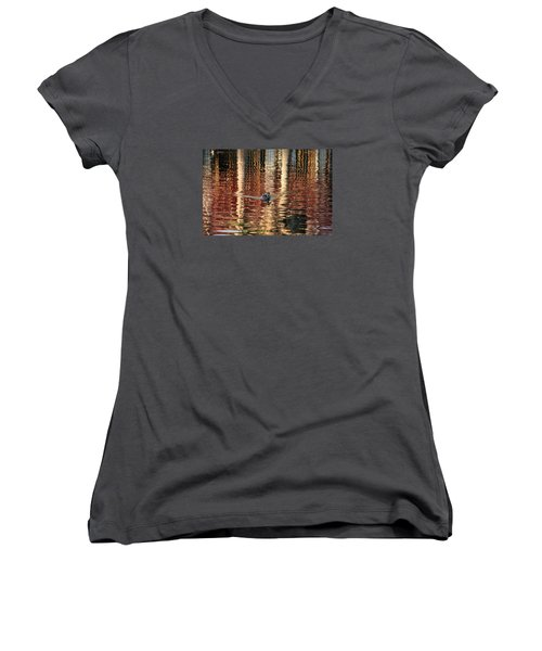 Swimming Over Reflections Women's V-Neck T-Shirt (Junior Cut) by Goyo Ambrosio
