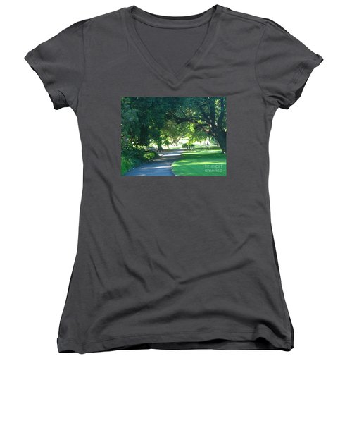 Women's V-Neck T-Shirt (Junior Cut) featuring the photograph Sydney Botanical Gardens Walk by Leanne Seymour