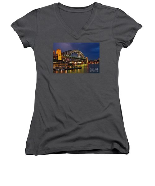Sydney Harbour Bridge By Night Women's V-Neck
