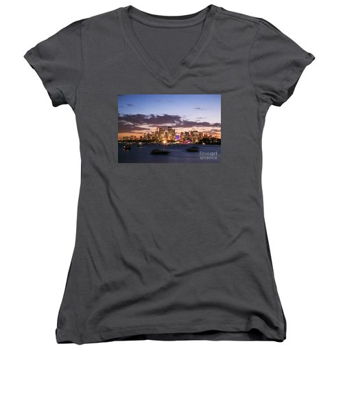 Sydney Skyline At Dusk Australia Women's V-Neck T-Shirt (Junior Cut) by Matteo Colombo